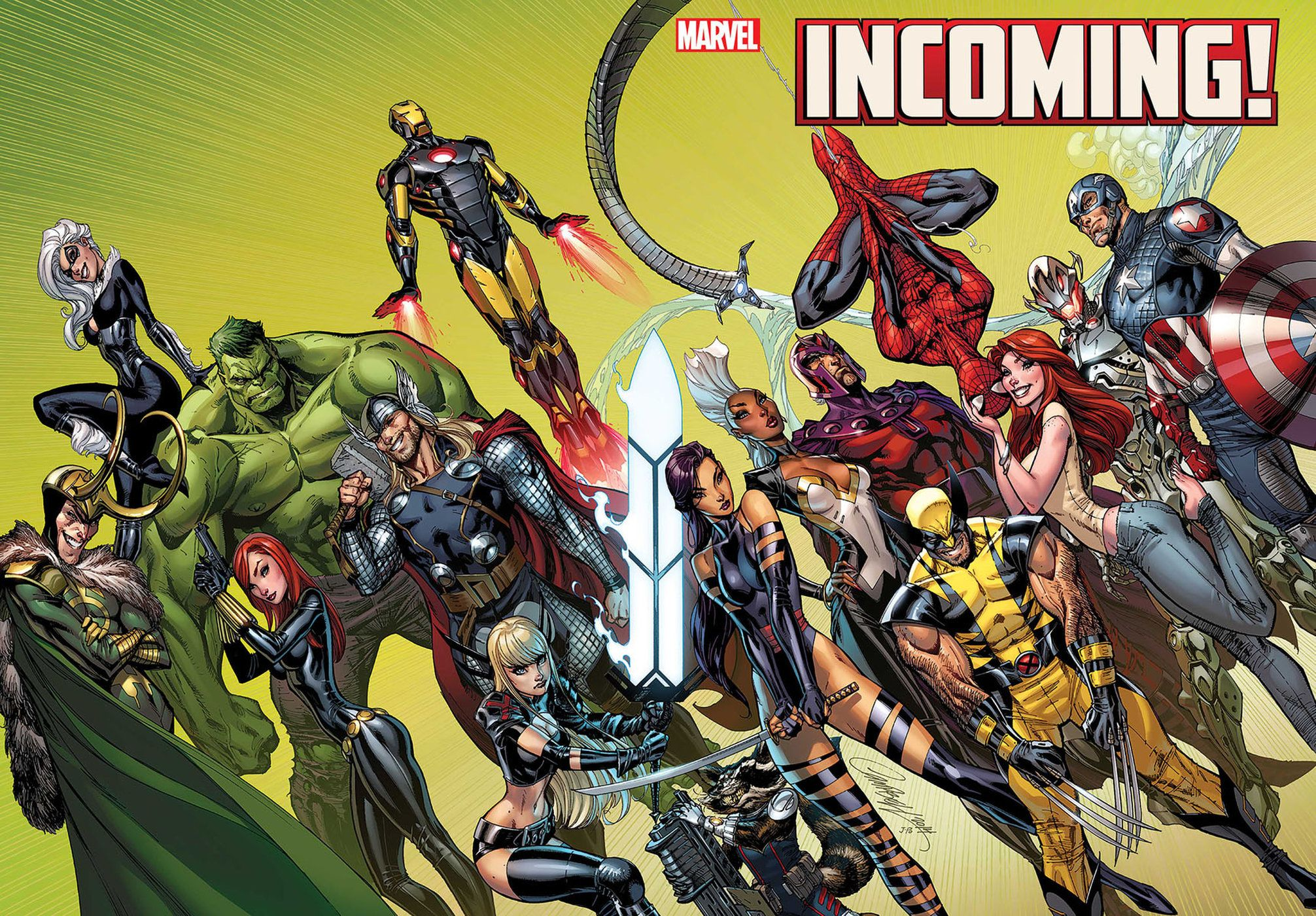 Marvel Comics. Comic Book Artwork • Incoming! by J Scott Campbell. Follow us for more awesome comic art, or check out our online store www.7a… | Arte, Cómics, Heroe