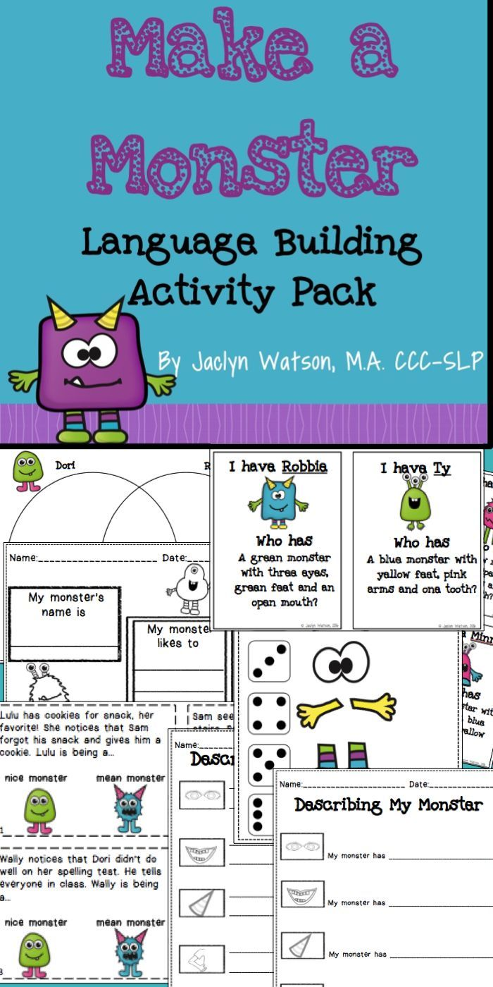 Make A Monster: Language Building Activity Pack | Language ...
