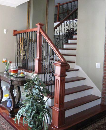 Best 7038 Rosette Wood Handrail Wall Mounted Handrail Stair 400 x 300