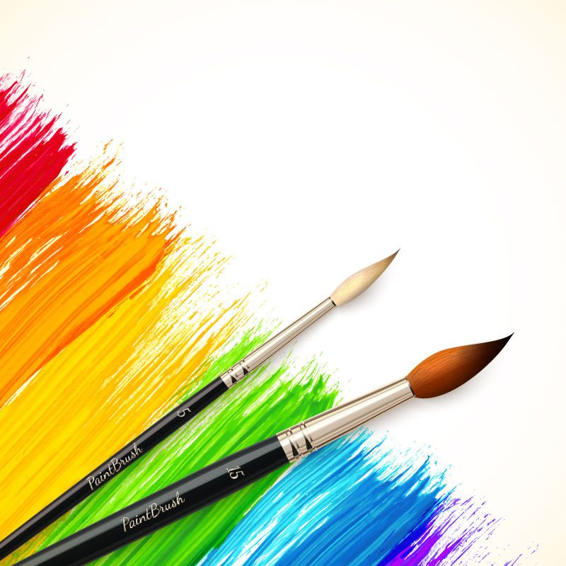 Color Paint Brush Vector Watercolor Background Butterfly