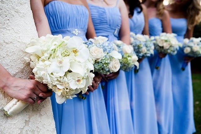 Flowers To Match Light Blue Dress Bride Bridesmaid Wedding