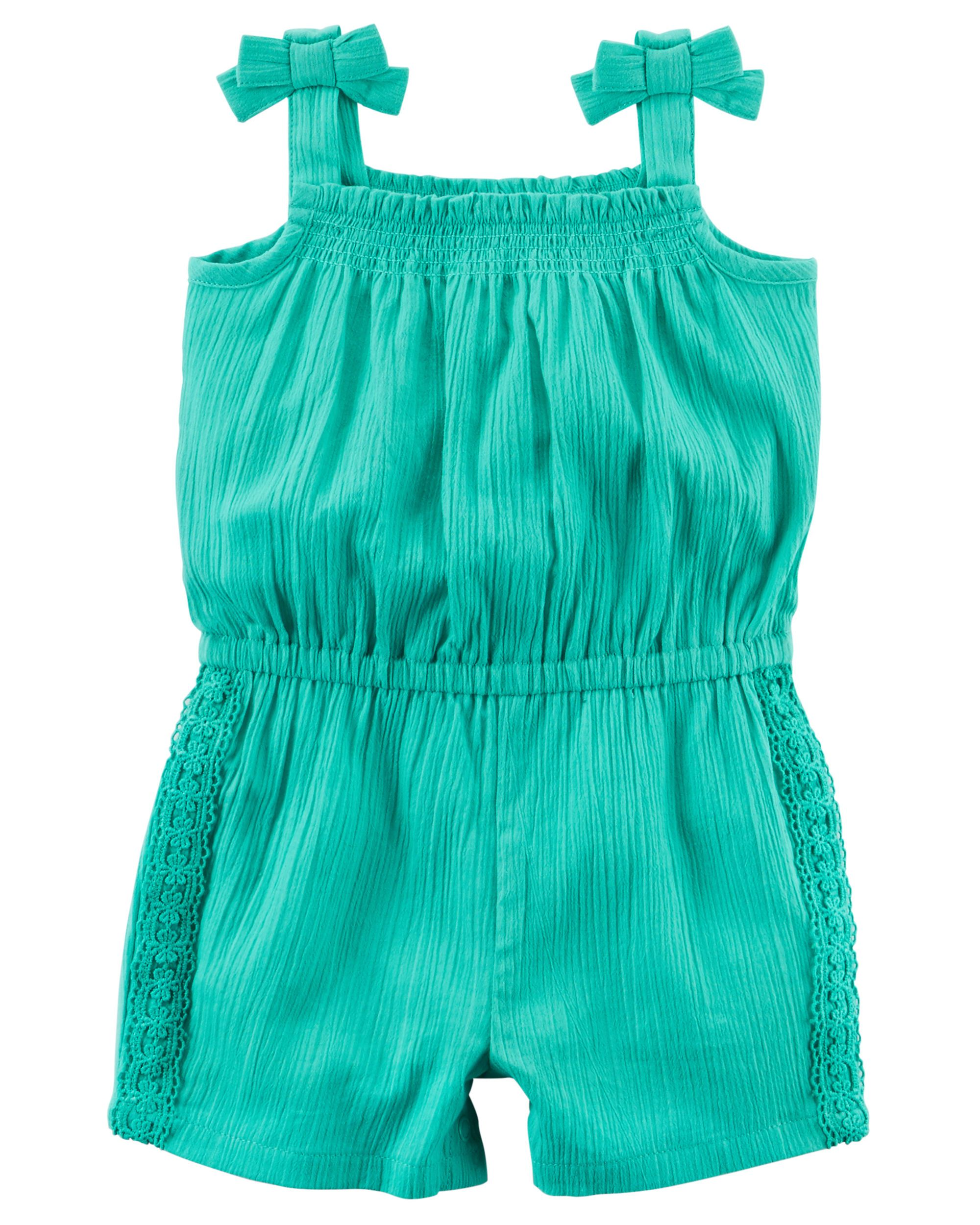 691c1f5e2c35 Baby Girl Lace Crinkle Romper