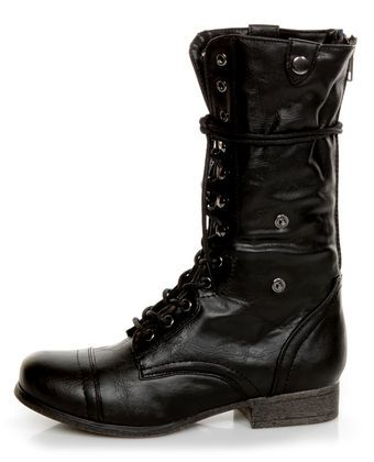 Bamboo Surprise 01 Black Lace-Up Convertible Combat Boots