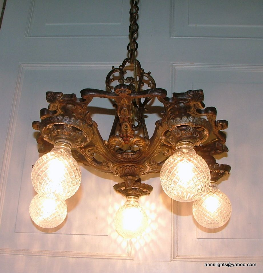Restored Old 1920 30 S Vintage Cast Iron Hanging Ceiling Light Fixture Antique Chandelier Lighting Hanging Ceiling Lights Simple Chandelier Antique Lighting