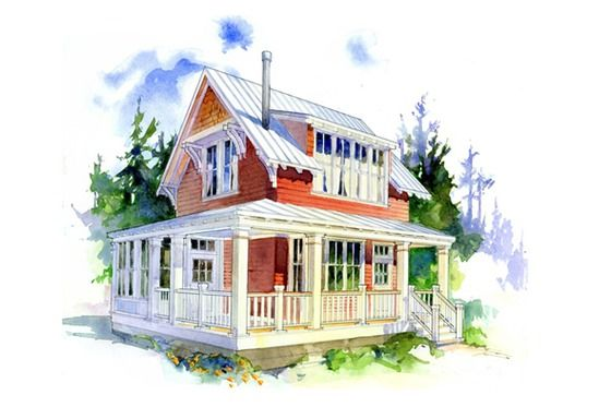 House plan 479 10 the woodland this under 1000 sq ft for Small cape cod house plans under 1000 sq ft