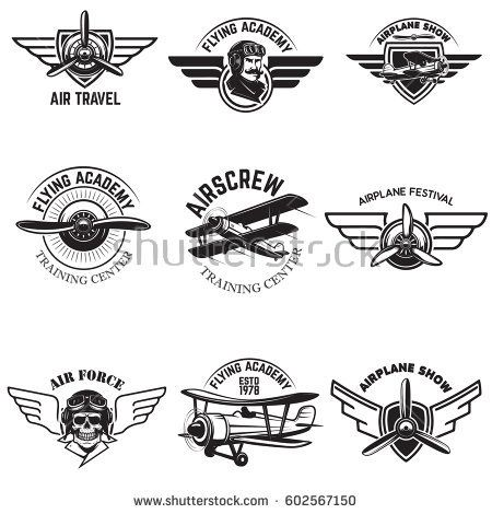 Set of air force, airplane show, flying academy emblems