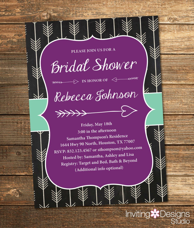 Bridal Shower Invitation, Shower Invite, Arrows