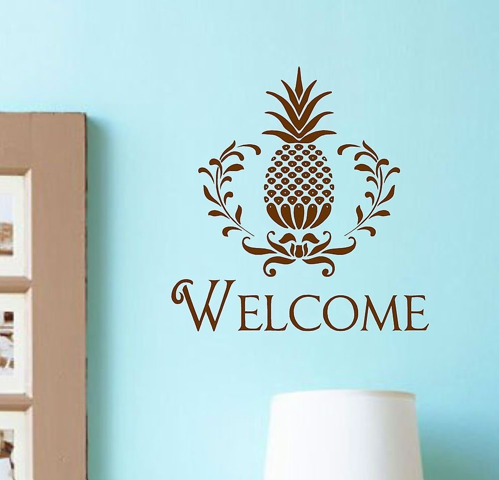 Vinyl Wall Decal Welcome Pineapple Lettering Entryway Home Decor - Wall decals entryway
