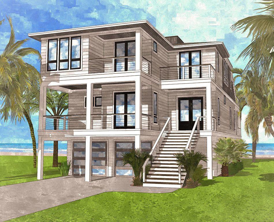 Plan 15220nc Coastal Contemporary House Plan With Rooftop Deck Coastal House Plans Modern Beach House Contemporary House Plans