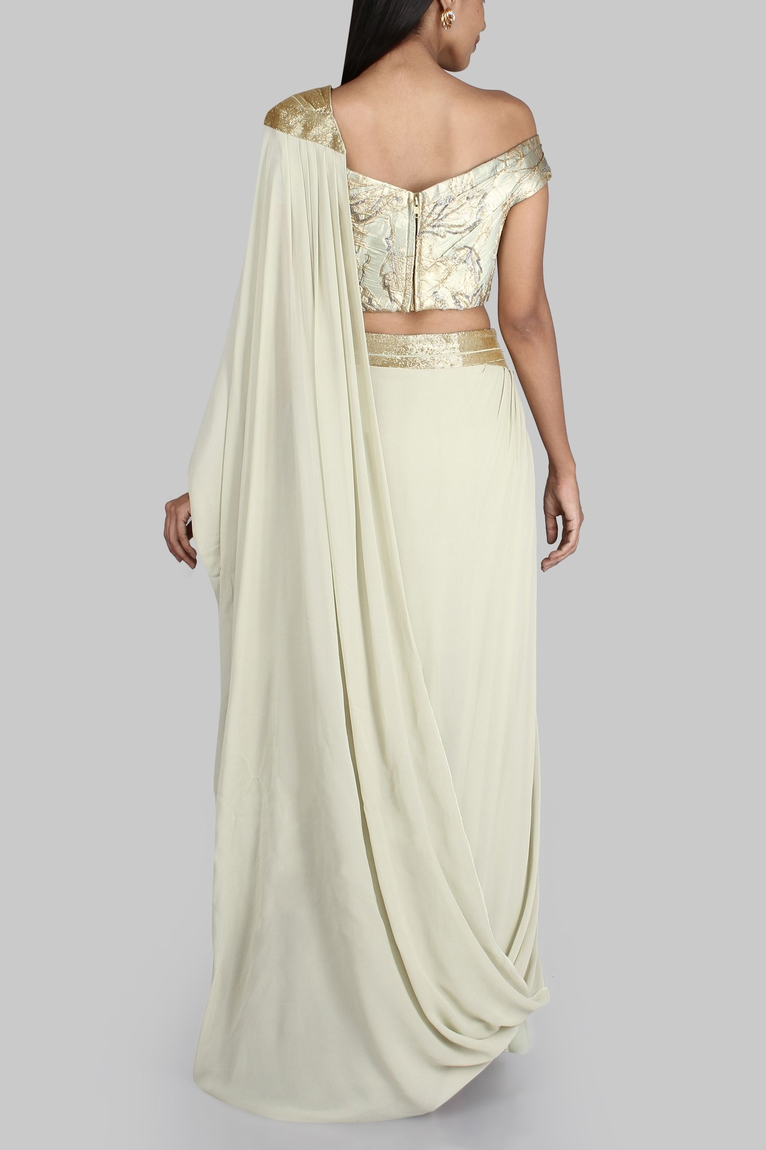 Draped sari gown   Watch your back   Pinterest   Saris, Gowns and ...