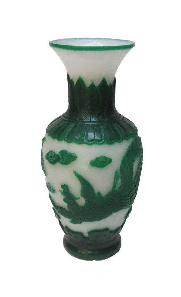 Chinese Peking Glass Green White Hand Carving Phoenix Vase F857s