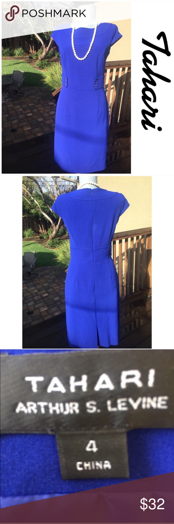 "Tahari Royal Blue Sheath Dress. Ultra Chic Tahari Royal Blue Sheath Dress. Ultra Chic. Very good condition.  Flat lay measurements. Between under arms  17"".  Waist 28"".  Hips 36"". Length 37"".  Gorgeous. Tahari Dresses"