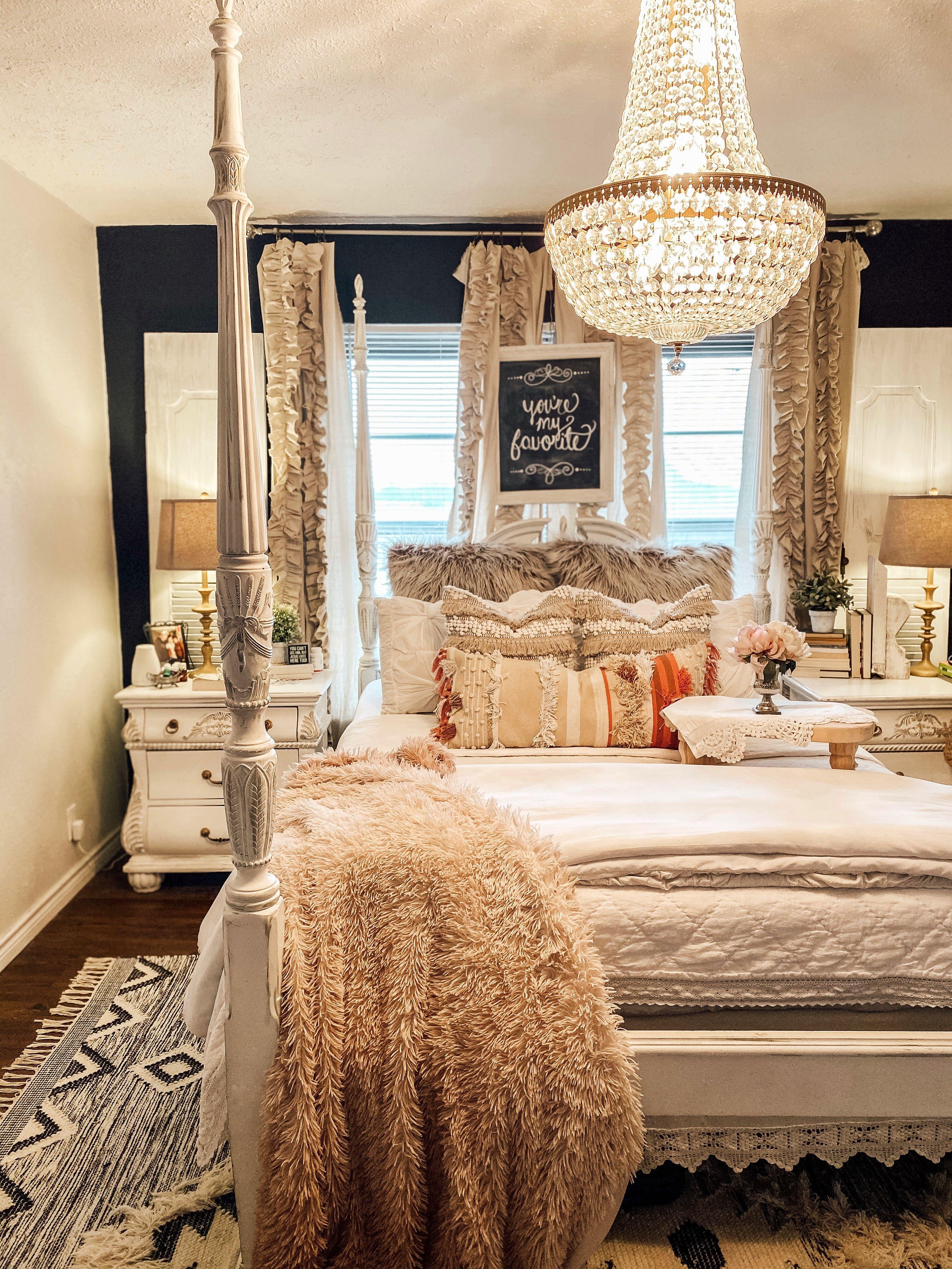 Boho farmhouse bedroom, glam bedroom, cottage bedroom