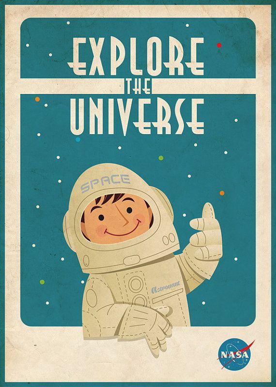 vintage space poster astronaut 50x70 cm chambre bebe pinterest astronaute espace et. Black Bedroom Furniture Sets. Home Design Ideas