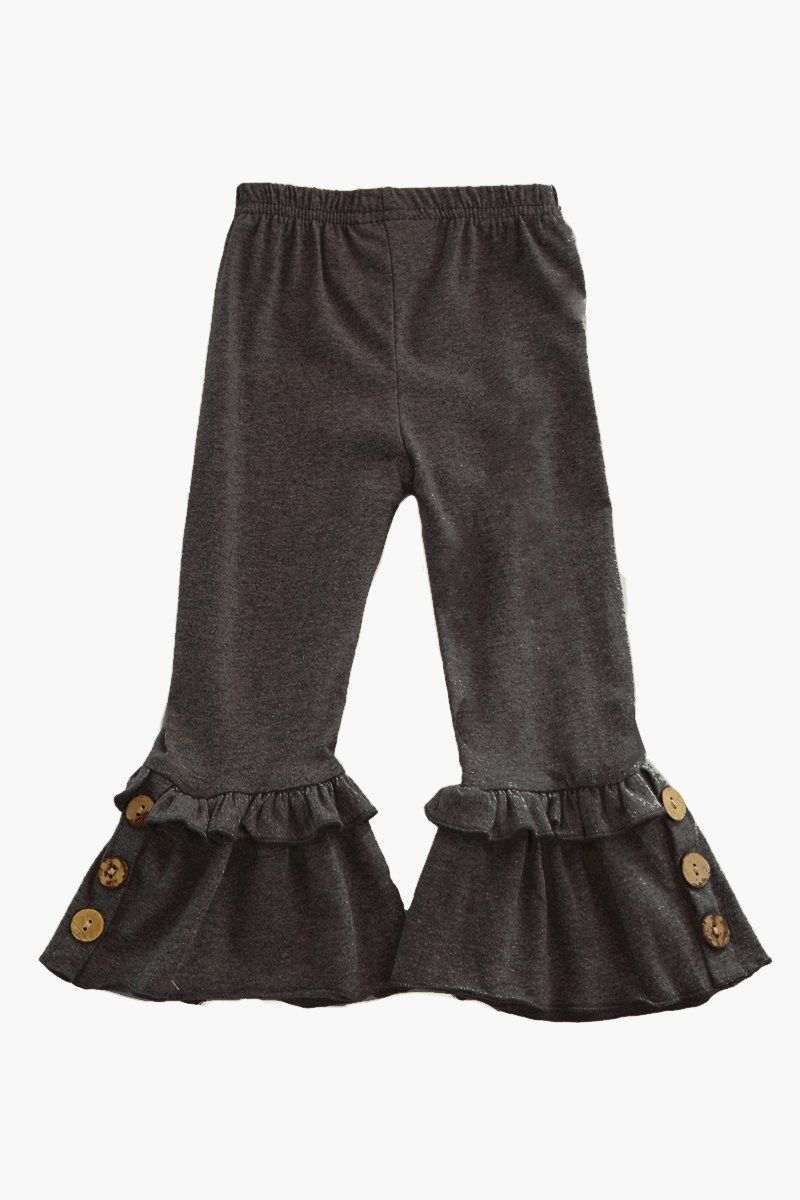 9c1de1450 Black Ruffle Pants with button accent for girls in 2019 | Purple ...