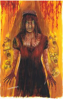 Stephen King Art   Chadbourne Painting of Carrie White At The Prom