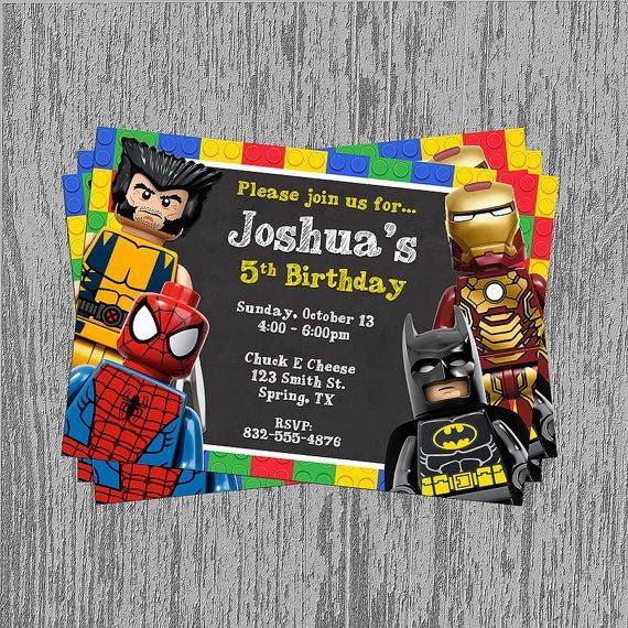 Superhero Birthday Invitations Free New Invitations – Lego Birthday Invitations Free