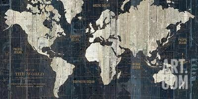 Old world map blue