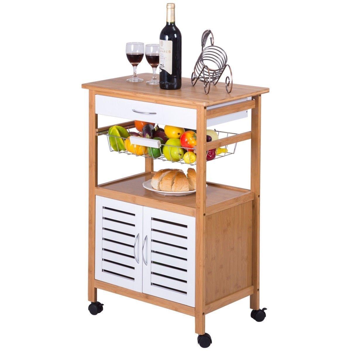 kitchen cart with drawers metal shelf מוצר home bamboo rolling storage trolley drawer basket us