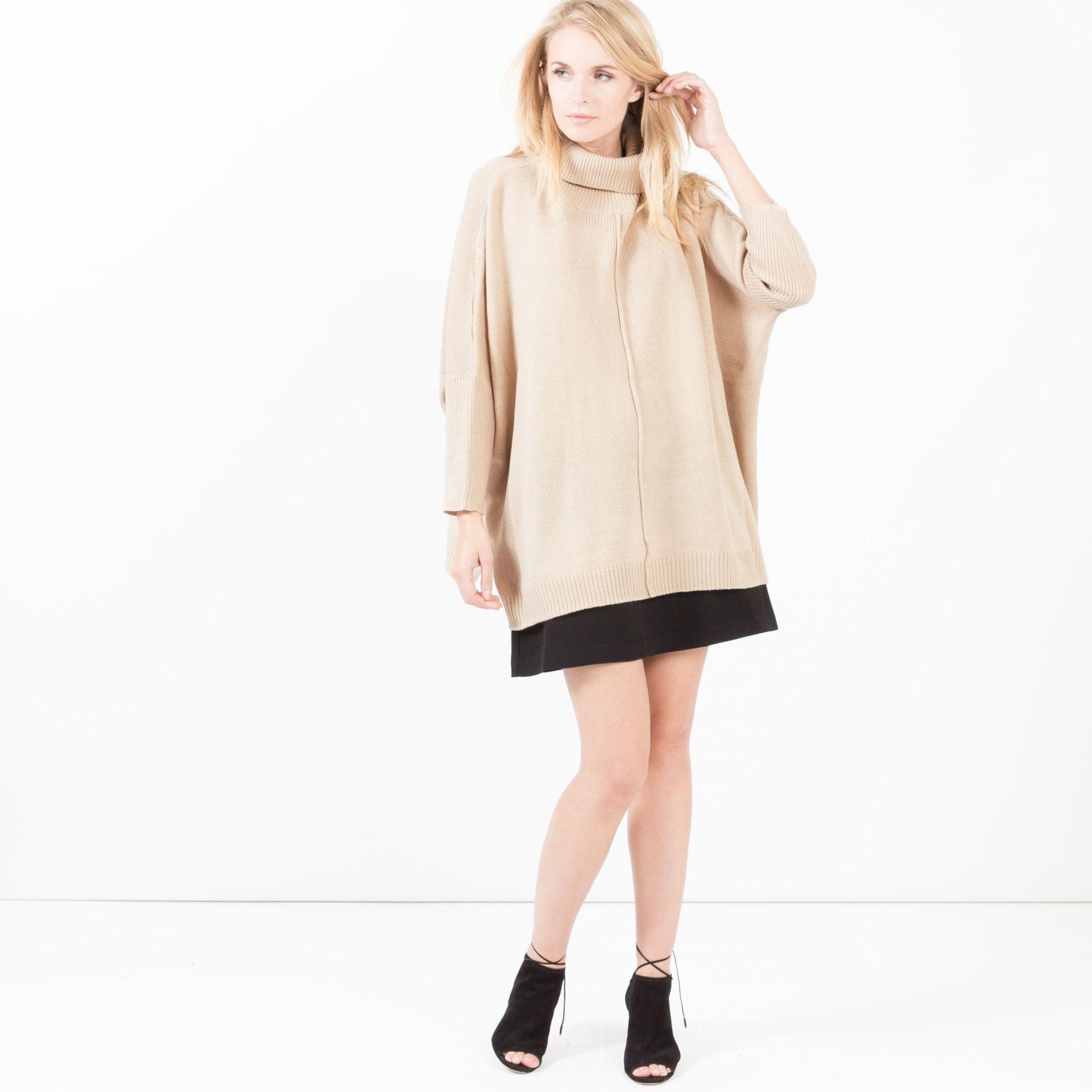 Kara Oversized Turtleneck Sweater (Beige)