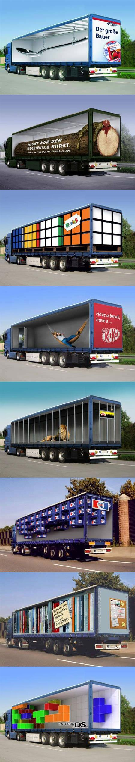 트럭의 안에 공간이 보이는것처럼 내용물을 광고하는 방식이 새롭다.