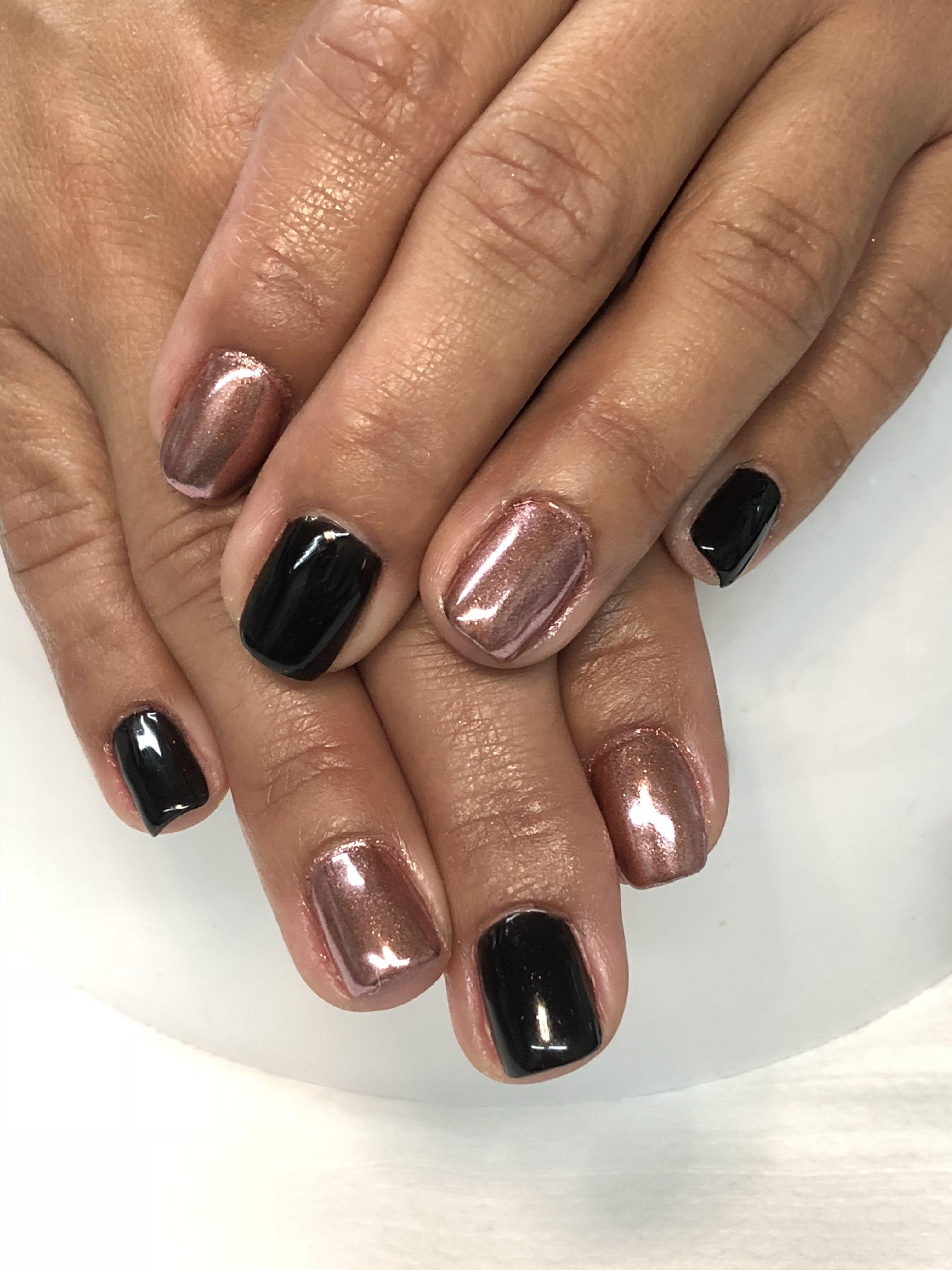 Black And Rose Gold Chrome Fall Gel Nails Nails Toe Nail Color Gel Nail Designs