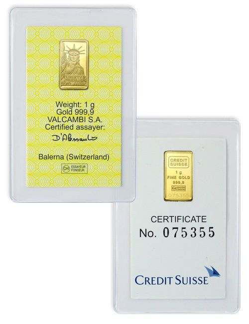 Credit Suisse 1 Gram 9999 Gold Bar New Sealed With Assay Certificate Sku26513 Credit Suisse Gold Bar Suisse