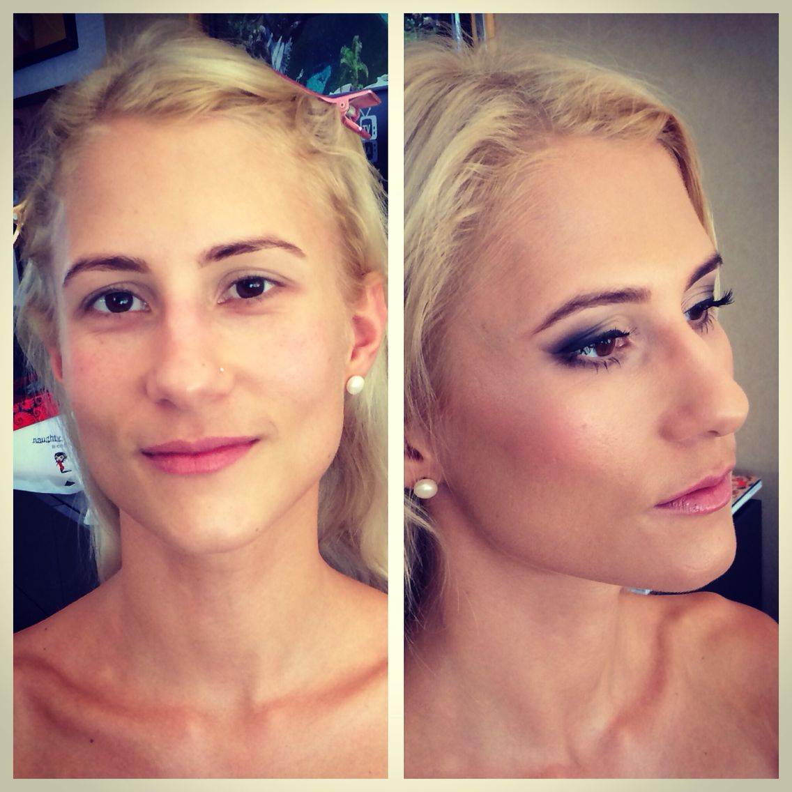Before & after Bridal makeup, airbrush foundation, harpier