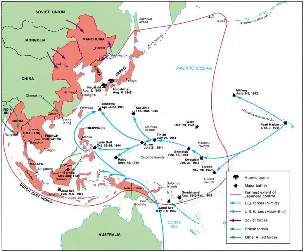 Pacific War Map 1 | Map, War, World war two