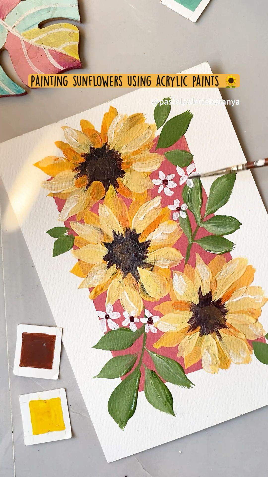 Painting sunflowers using acrylic paints 🌻
