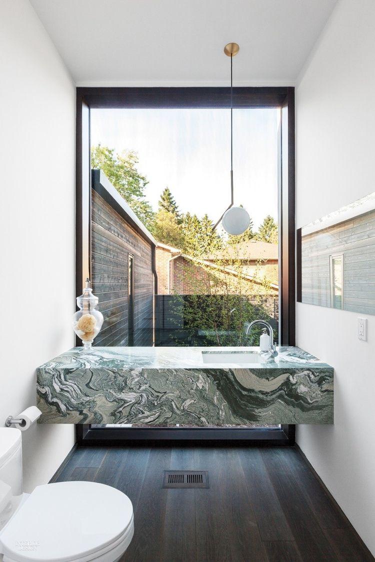Ensuite badezimmerdesign grüner marmor trend wohnen badezimmer waschbecken minimalistisch