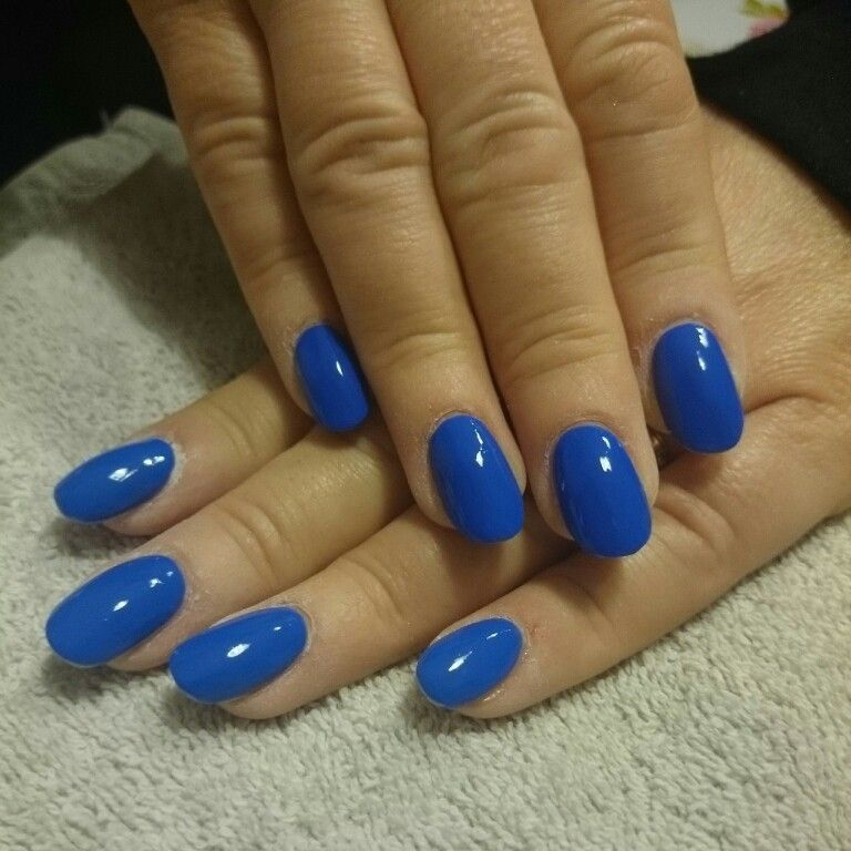 Electric Bright Blue Round Acrylic Nails Round Nails Rounded Acrylic Nails Oval Nails