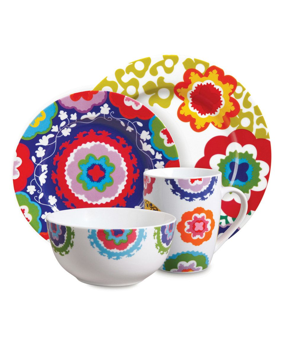 Look at this French Bull Bright Floral Dinnerware Set on today!  sc 1 st  Pinterest & Another great find on #zulily! Bright Floral 16-Piece Dinnerware Set ...