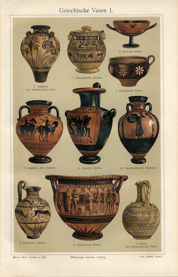 1894 Ancient Greece Vases Amphora Antique Chromolithograph Print