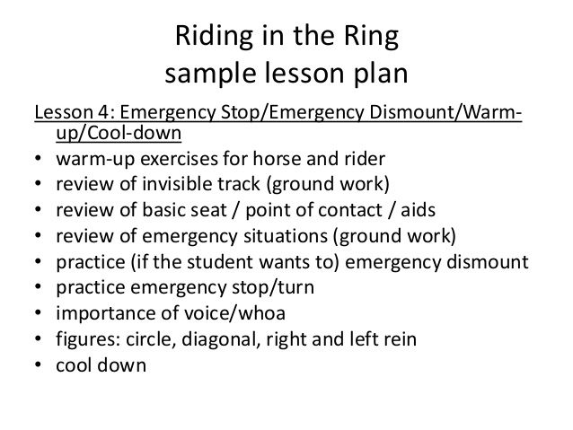 Riding in the Ring sample lesson plan Lesson 4 Emergency Stop - sample lesson plan