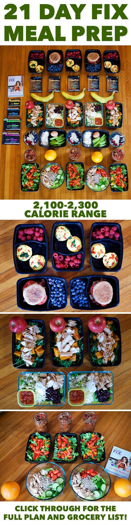 Meal Prep for the 21 Day Fix 2,100-2,300 Calorie Level ...