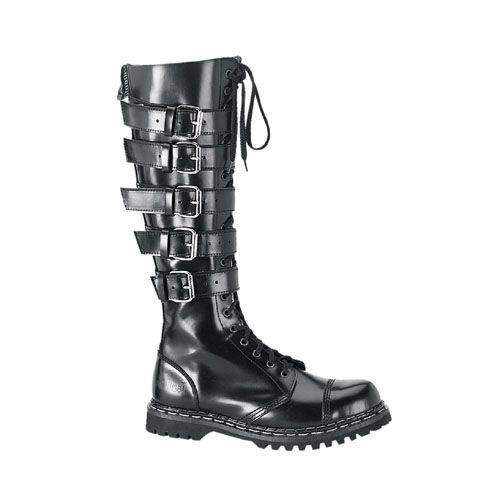 a68b88d9687 Price  176.00 Demonia Gravel - Mens Knee High Buckled Leather Combat Biker  Unisex Boots http