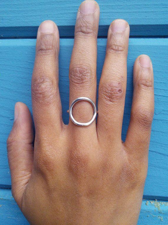 Geometric Shape Ring 14K Gold Open Circle Ring Modern Design Sterling Silver Ring Minimalist silver  Ring.