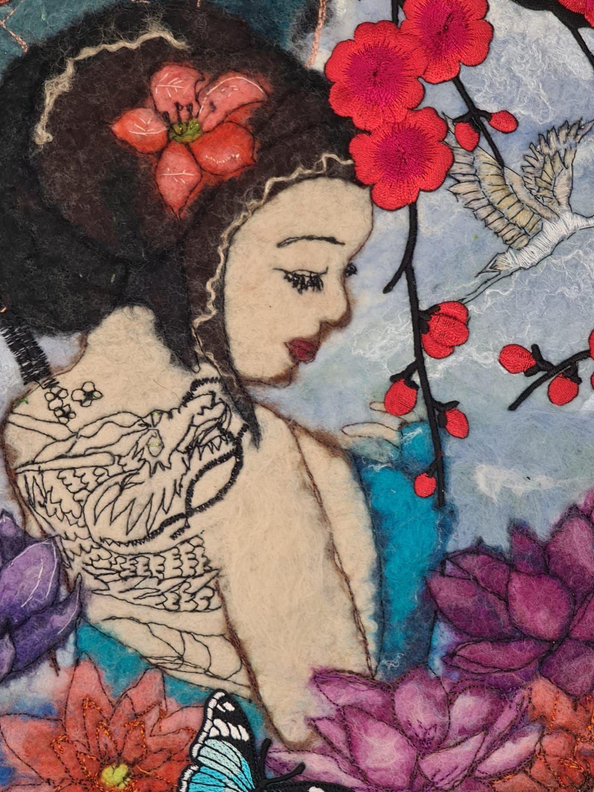 Framedwoman with a dragon tattoo felt fibre wall art