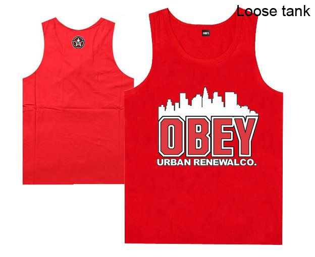 8 Styles Cheap OBEY Urban Renewalco.Tank Tops, men's Obey  Loose Vest ,mens hiphop Vest $18.90