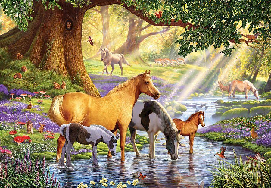 Horses Digital Art - Horses By The Stream by Steve Crisp
