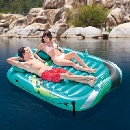 Intex Inflatable Lake Mat with Double Pillows, Aqua