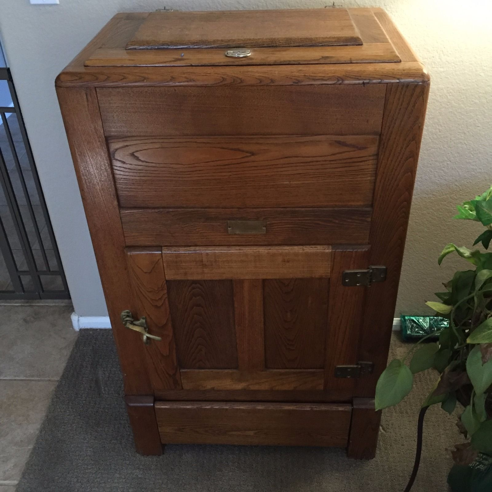 Antique vintage unfinished refrigerators - Antique Oak Ice Box Vintage Ashwood Ranney Brand Excellent Condition Ebay