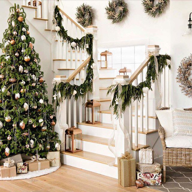 Marvelous Rose Gold Meets Winter Wonderland! ❄ 😍❄ Tap The Link In Our · Christmas  Stairs DecorationsDecorated Christmas TreesStairwayCoastal ...