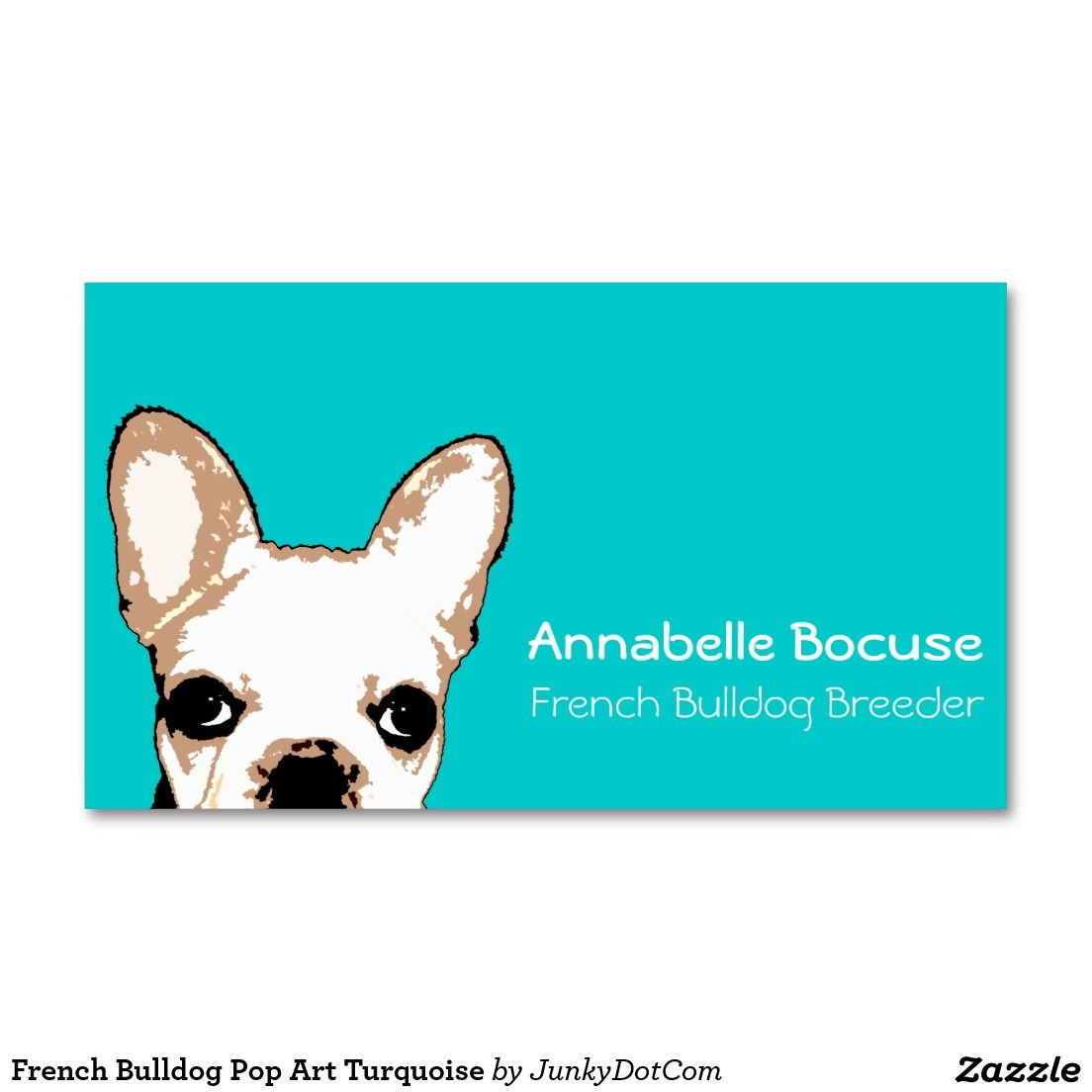 French Bulldog Pop Art Turquoise Double-Sided Standard Business Cards (Pack Of 100) - Sept 27