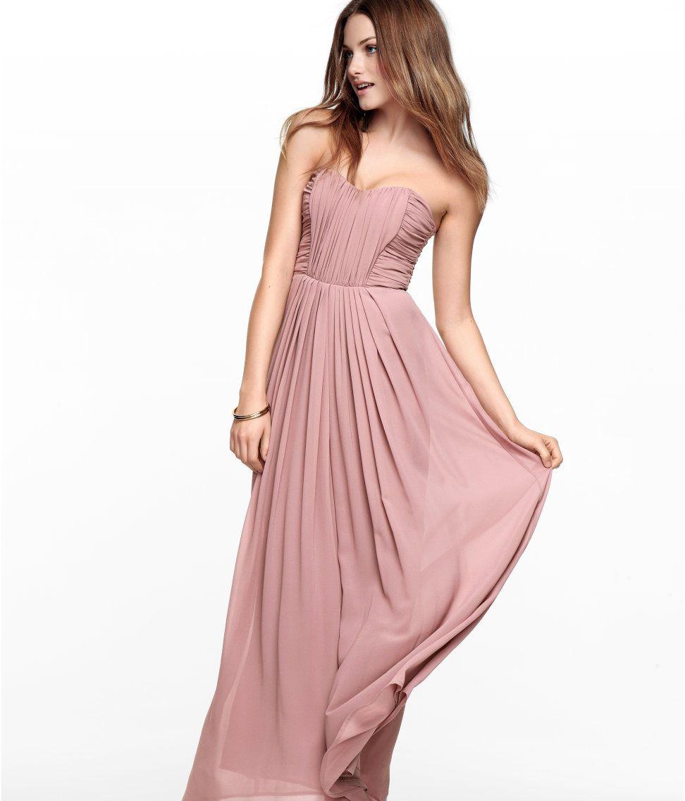 53ac84a846a H M strapless blush maxi dress Bridesmaid Dresses Uk