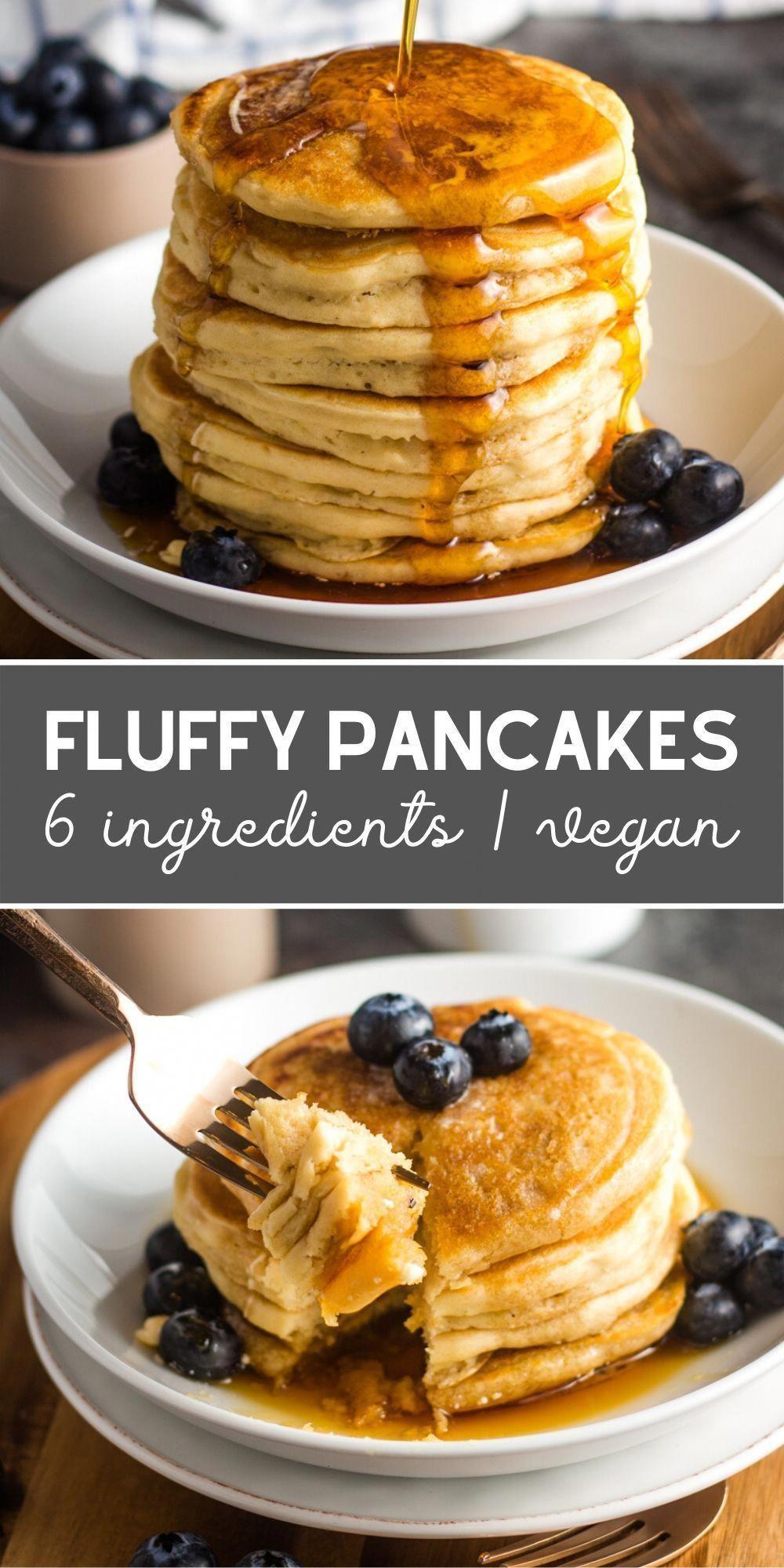 6 Ingredient Fluffy Vegan Pancakes Karissa S Vegan Kitchen Recipe In 2020 Vegan Pancake Recipes Vegan Pancakes Best Vegan Pancakes