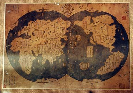 Chinese map of world an inscription identifies the map as a copy chinese map of world an inscription identifies the map as a copy made in 1763 gumiabroncs Image collections