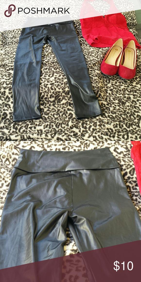 High waisted Shiney black leggings Very sexy patent shiny leggings. The high waist flatters most any waist line. EUC Pants Leggings