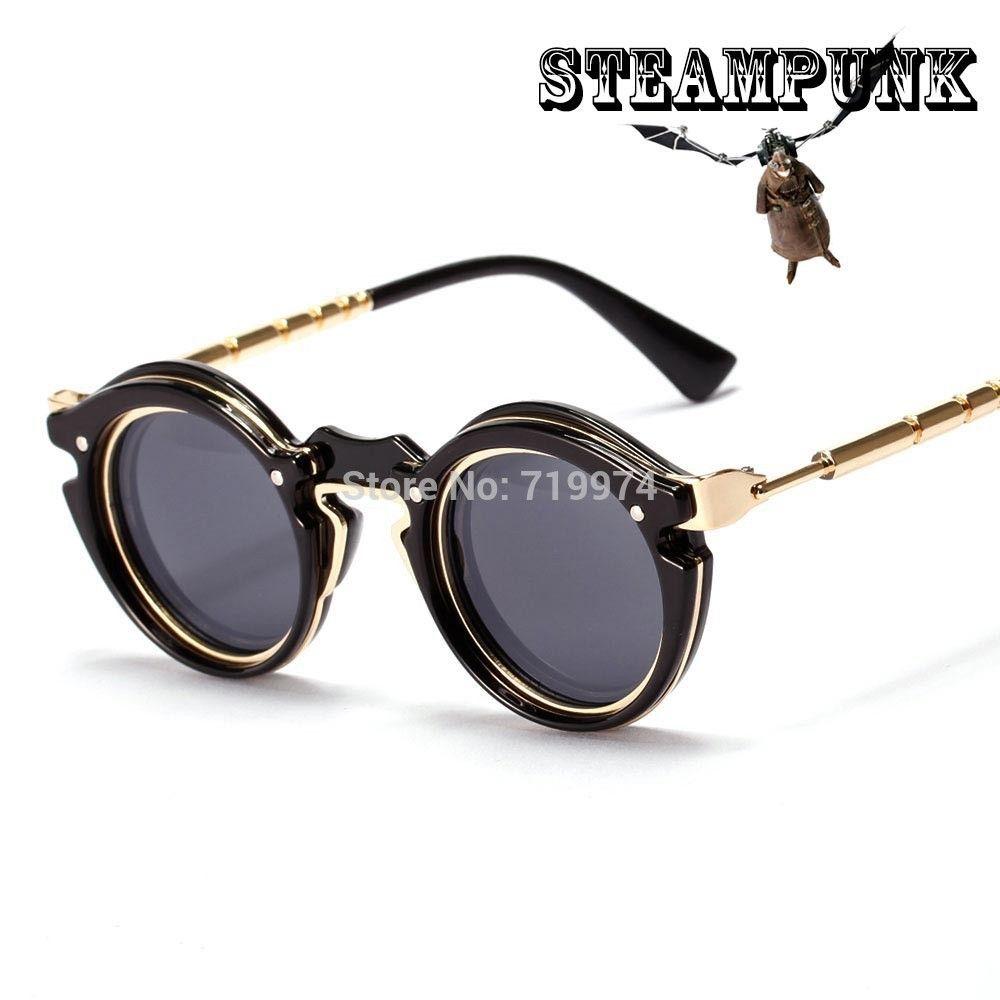 Vintage Steampunk Lunettes Rondes lunettes de Soleil Femmes Hommes Marque  Designer Rétro Vapeur Punk Lunettes de 2c959ec71339